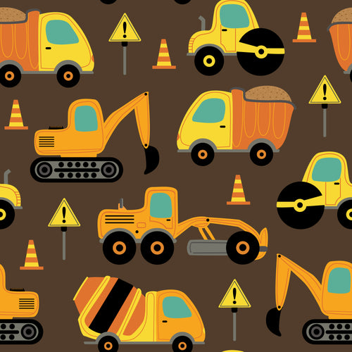 Truck construction Faux leather print 8x13