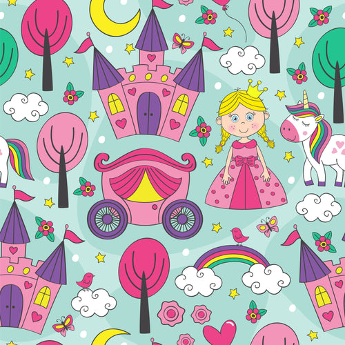 Pretty princess green background Faux leather print 8x13