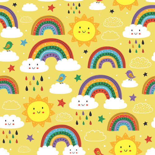 Bright yellow rainbows and sun Faux leather print 8x13