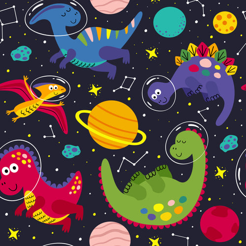 Funky Dinosaurs in space Faux leather print 8x13