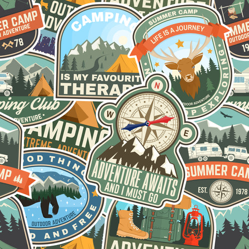 Camping adventure badges Faux leather print 8x13