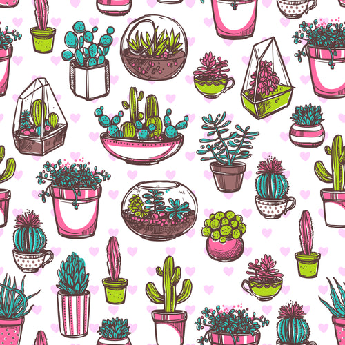 Hand drawn succulents Faux leather print 8x13