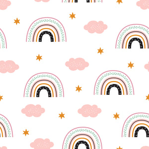 pretty dainty rainbows pink Faux leather print 8x13