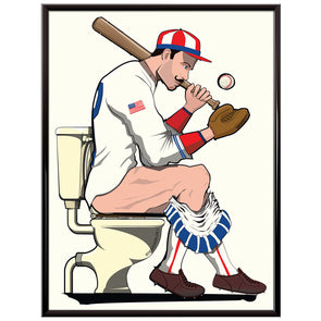 Baseball Player on the toilet Poster
