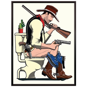 Cowboy on the toilet Poster