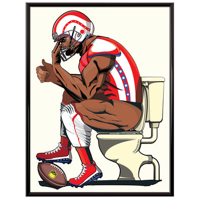 american football player toilet poster