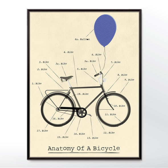 Vintage Poster of Anatomy of a bicycle. Framed in three sizes 30x40cm, 18x24 inches, or 24x36 inches
