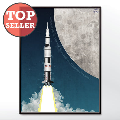 Nasa Apollo Program Saturn V Rocket Poster Framed in three sizes 30x40cm, 18x24 inches, or 24x36 inches