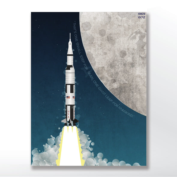 Nasa Apollo Program Saturn V Rocket Poster unframed in three sizes 30x40cm, 18x24 inches, or 24x36 inches