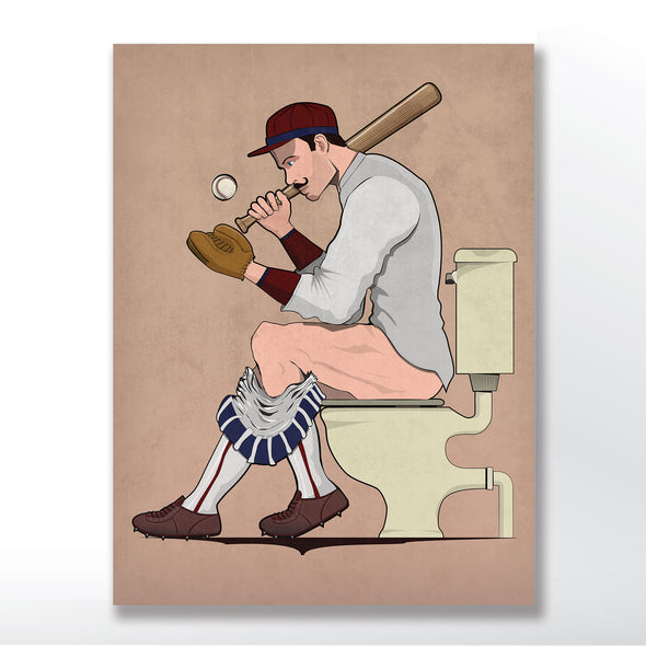 Poster of Baseball player on the toilet. Bathroom wall art Unframed in three sizes 30x40cm, 18x24 inches, or 24x36 inches
