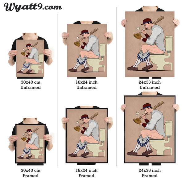 Poster of Baseball player on the toilet. Bathroom wall art Unframed or Framed in three sizes 30x40cm, 18x24 inches, or 24x36 inches