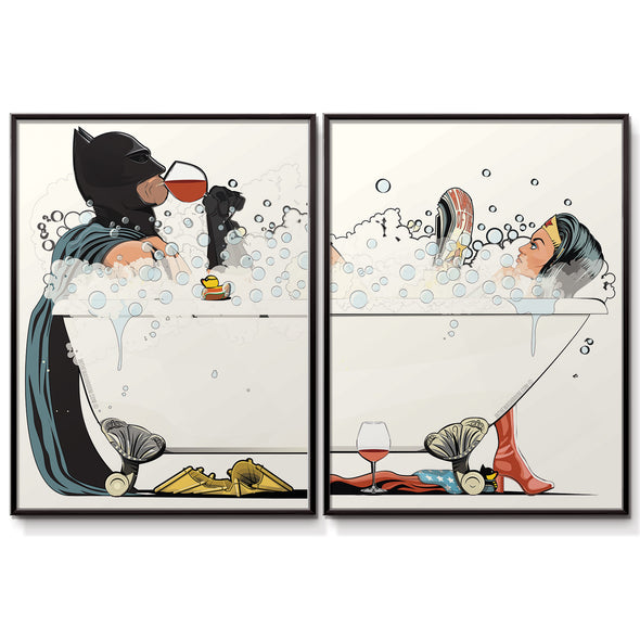 Batman & Wonder Woman in the bath,  Bathroom Poster Set