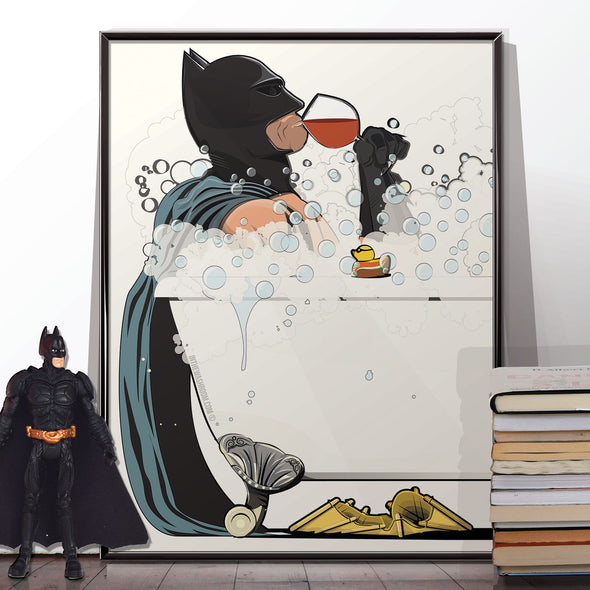 Batman & Catwoman in the bath,  Bathroom Poster Set