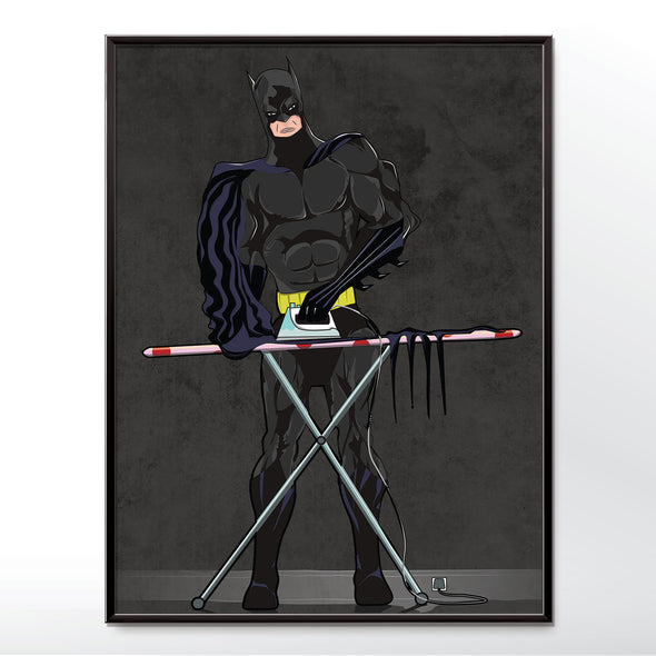 Batman ironing poster  wall art Unframed or Framed in three sizes 30x40cm, 18x24 inches, or 24x36 inches
