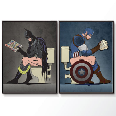 Batman & Captain America bathroom wall art poster set. wyatt9.com