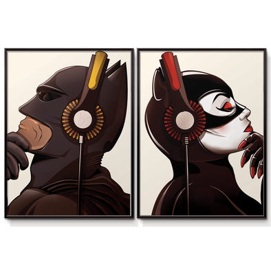 Batman and Catwoman Headphones poster print - wyatt9.com