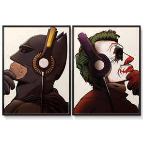 Batman and Joker Headphones poster print - wyatt9.com