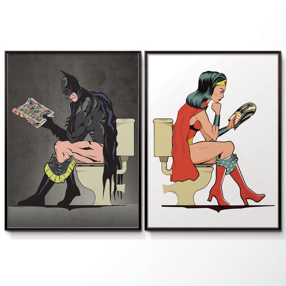 Batman and Wonder woman Bathroom poster set. wyatt9.com