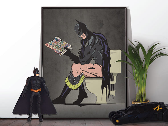 Batman and catwoman bathroom wall art poster. wyatt9.com