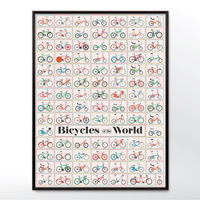 Vintage style poster of bicycles from around the world. Framed in three sizes 30x40cm, 18x24 inches, or 24x36 inches