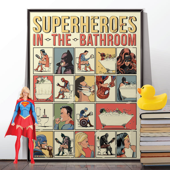 Superheroes in the Bathroom Poster