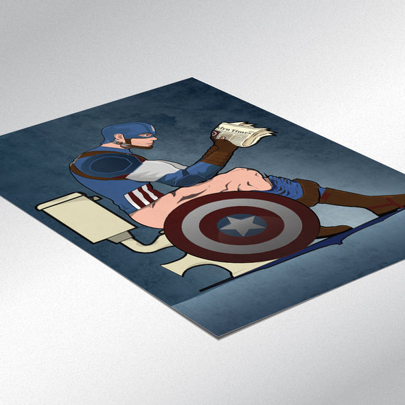 Captain America on the Toilet Bathroom Poster - wyatt9.com