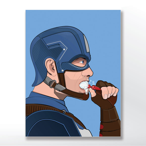 Captain America brushing his teeth bathroom poster wyatt9.com