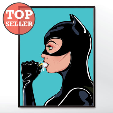 Catwoman brushing his teeth bathroom poster wyatt9.com