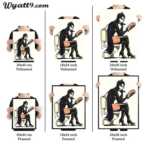 Catwoman or Batwoman Superhero Toilet Bathroom Restroom Poster