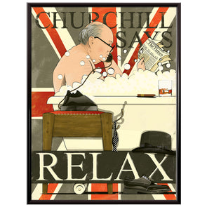 Churchill in the bath bathroom Poster