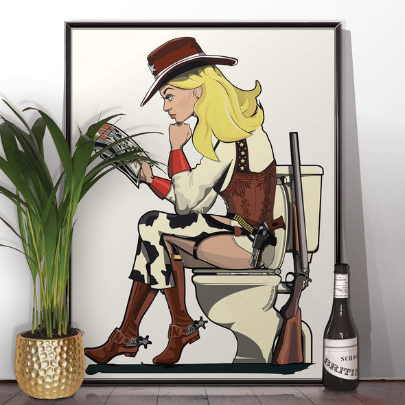 Cowgirl on the toilet Poster