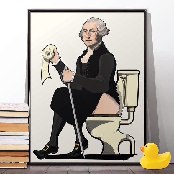 George Washington on the toilet Poster
