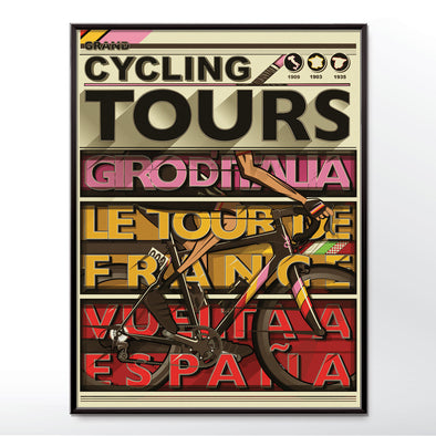 Cyclists Grand Tour Bicycle Poster Wall Art Print