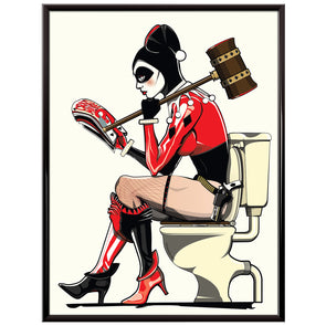 Harley Quinn on the Toilet Poster