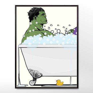 Hulk in the bath, bathroom Superhero poster wyatt9.com