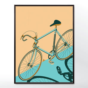 Blue Bicycle Poster Isometric and Framed in three sizes 30x40cm, 18x24 inches, or 24x36 inches