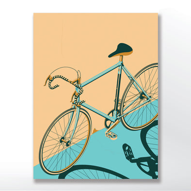 Blue Bicycle Poster Isometric and unframed in three sizes 30x40cm, 18x24 inches, or 24x36 inches