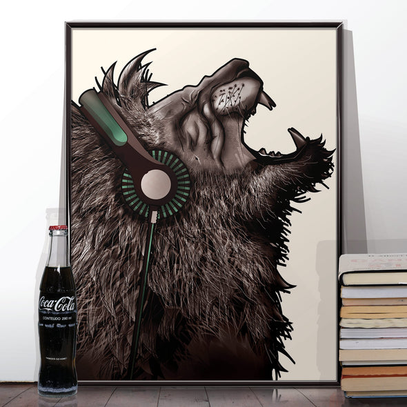 Lion Music Headphones poster print - wyatt9.com