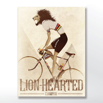 vintage cycling poster of a lion on a bike - world champion - wyatt9.com