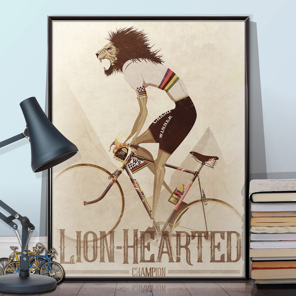 World Champion Poster Lion Hearted Bicycle Print