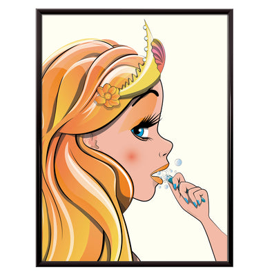 Mermaid brushing teeth poster
