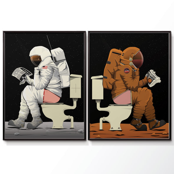Moon & Mars Astronaut Bathroom Toilet Poster Print Set