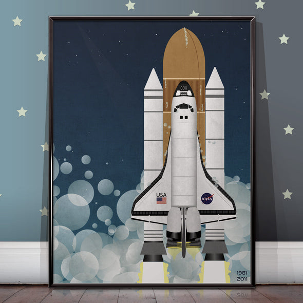 Nasa space shuttle poster launch - wall art print - wyatt9.com