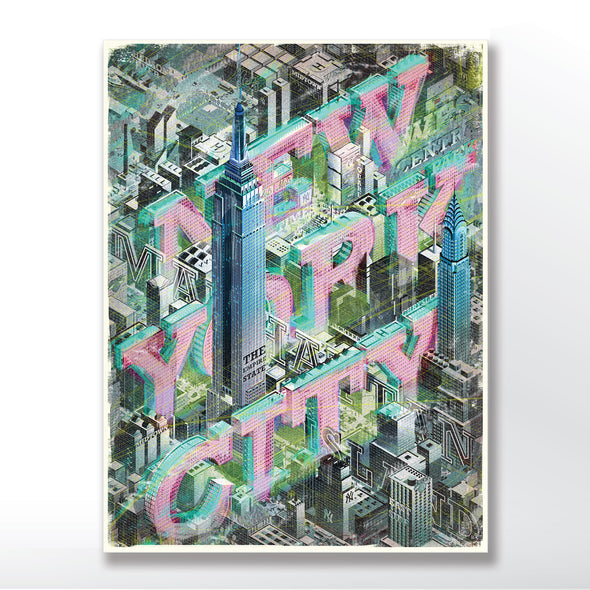 Vintage New York City Poster Framed in three sizes 30x40 cm, 18x24 inches, 24x36 inches.