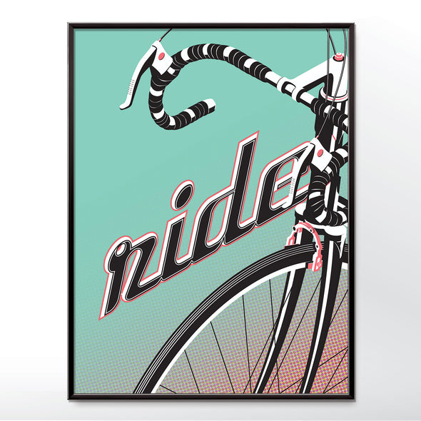 ride my bicycle poster, hipster cycling print from wyatt9.com