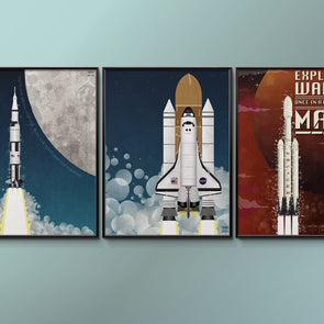 Space Rocket Poster set