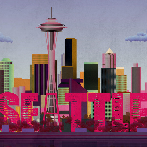 Seattle Cityscape City Wall Art Hanging Print Home Décor