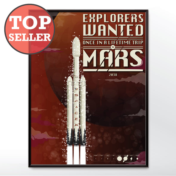 Mars Poster Spaceship Spacex