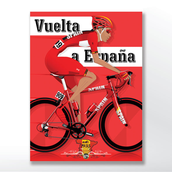 Vuelta a España cycling race poster, Spanish bicycle wall art print from wyatt9.com