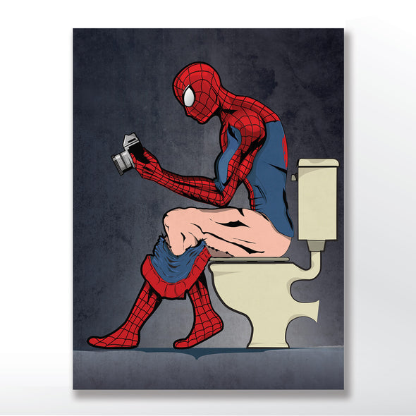 Spiderman Toilet Bathroom Poster Print